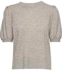 puff shoulder top t-shirts & tops knitted t-shirts/tops grijs davida cashmere