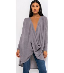 akira hold your head high long sleeve drape front casual sweater