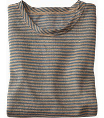 linnen shirt met lange mouwen, rookblauw-gestreept m