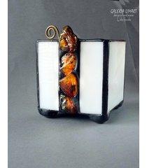 bursztynowy świecznik-lampion prezent dla mamy
