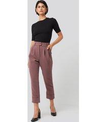 na-kd classic folded cigarette suit pants - purple