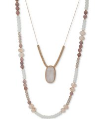 """lonna & lilly gold-tone beaded double-row necklace, 36"""" + 3"""" extender"""