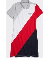 tommy hilfiger women's adaptive hilfiger polo dress grey heather/ bright white / apple red - s