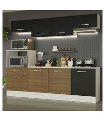cozinha completa madesa onix 240003 com armario e balcão branco/preto/rustic 09d8 branco/preto/rustic