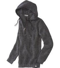 grof gebreide pullover met capuchon en zipper, antraciet-gem. l