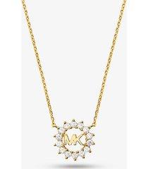 mk collana in argento sterling con placcatura in metallo prezioso e logo - oro (oro) - michael kors