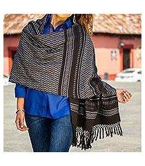zapotec cotton rebozo shawl, 'fiesta in black and silver' (mexico)
