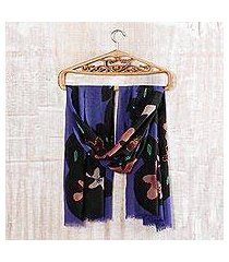 wool shawl, 'lapis allure' (india)