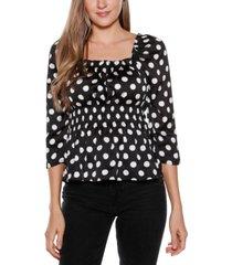 belldini black label polka dot print square neck puff sleeve top