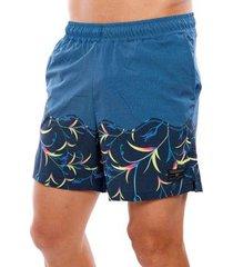 bermuda vida marinha praia short estampado masculina - masculino