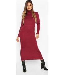 long roll neck sweater dress, berry