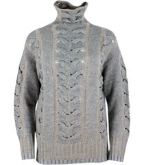 lorena antoniazzi turtleneck wool and cashmere sweater with braids and micro sequins