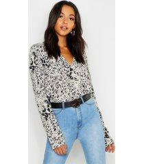 tall luipaardprint blouse, steenrood