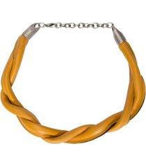 colar de couro torcido shoulder - amarelo