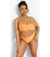 plus hipster tropicana bikini broekje met ceintuur, orange