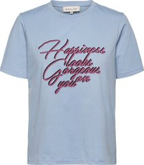 happiness tee t-shirts & tops short-sleeved blauw by malina
