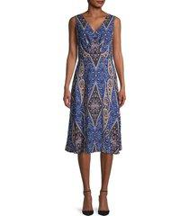 kobi halperin women's meri paisley a-line dress - azure multi - size l