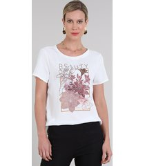"blusa feminina ""beauty"" manga curta decote redondo off white"