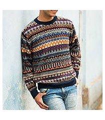 men's 100% alpaca sweater, 'colca melange' (peru)
