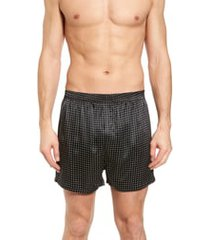 men's majestic international dot silk boxers, size x-large - black