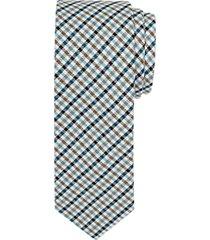 paisley & gray teal check skinny tie