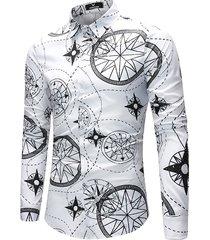 camicia casual da uomo girocollo con stampa primaverile