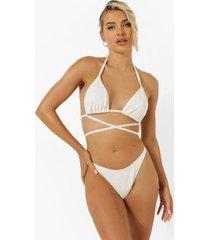 mix & match driehoekige gekreukelde bikini top met strik, ecru