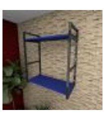 prateleira industrial para escritório aço preto mdf 30 cm azul escuro modelo ind10azes