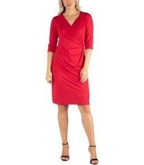 24seven comfort apparel women's three quarter sleeve knee length wrap dress