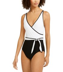 tommy hilfiger wrap-front belted one-piece swimsuit women's swimsuit
