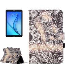 para samsung galaxy tab e 9,6 / t560 media flor patrón horizontal flip funda de cuero con soporte y ranuras para tarjetas y billetera