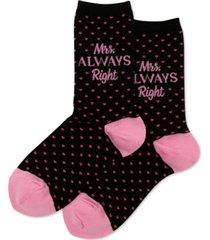 hot sox women's mrs. always right fashion crew socks