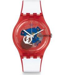 reloj swatch unisex clownfish red/suor102 - bicolor