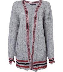 casaco john john school tricot cinza feminino (cinza escuro, gg)