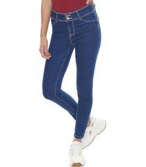 jeans high waist 2 botones azul oscuro  corona