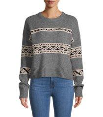 360 cashmere women's haley print cashmere sweater - grey multi - size s