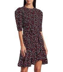 michael kors women's puff-sleeve belted dress - crimson multi - size 4