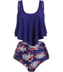 flower flounce high waisted ruched tankini swimwear