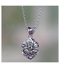 peridot flower necklace, 'hibiscus' (indonesia)