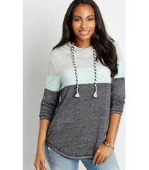maurices womens colorblock asymmetrical pullover hoodie blue