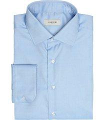 camicia da uomo su misura, canclini, easy iron azzurro armaturato, quattro stagioni | lanieri