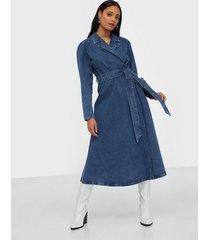 selected femme slfharper ls fray blue denim dress långärmade klänningar