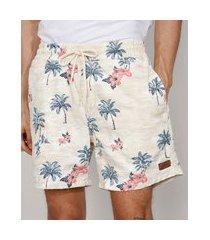 short de sarja masculino estampado de paisagem com cordão e bolsos off white
