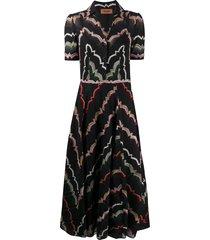 missoni button down woven pattern dress - black