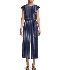 striped cup-sleeve jumpsuit