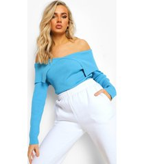 geribbelde gebreide trui met open schouders, bright blue