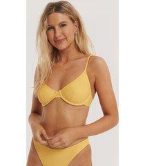 na-kd swimwear basic bikini cup bra - yellow
