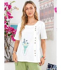 camicetta casual in cotone manica corta con stampa floreale o-collo per donna
