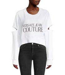 versace jeans couture women's logo cropped sweatshirt - white - size xxs