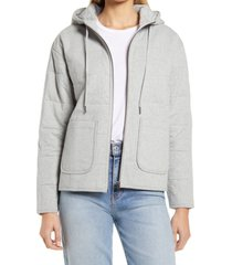 caslon(r) women's quilted zip-up hooded knit jacket, size x-large in grey heather at nordstrom
